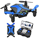 Mini Drone with Camera for Kids Beginners, Foldable Pocket RC Quadcopter with App Gravity Voice Control Trajectory Flight, FPV Video, Altitude Hold, Headless Mode, 360°Flip, Toys Gifts for Boys Girls
