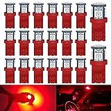 Paquete de 20 - W5W T10 168 2825 194 Bombilla LED de color rojo brillante 5050 Chipsets Fuente de luz 5SMD para luz de matrícula de 12V, luces LED interiores del automóvil, lámpara de techo