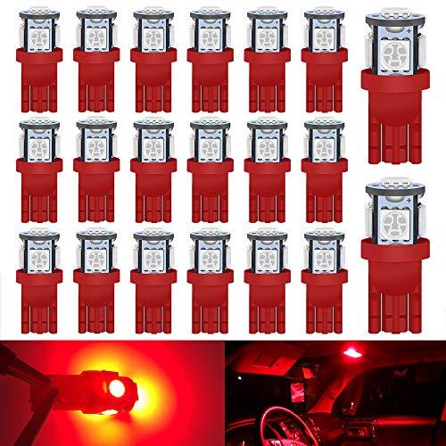 DEFVNSY 20pcs Rouge 194 T10 168 2825 W5W Ampoule LED de intérieur de voiture 5050 5-SMD pour 12V Lampe d'instrument de coffre de porte dôme de carte Feux De Plaque D'immatriculation