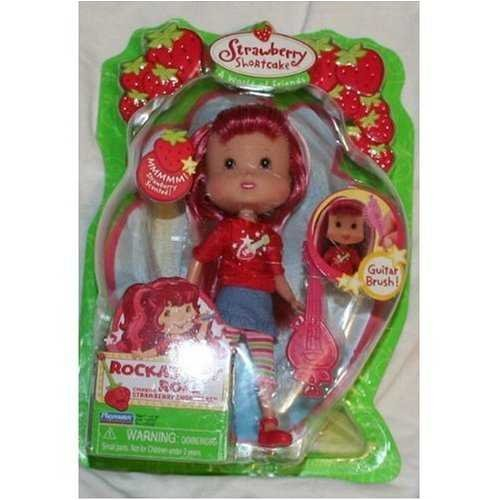 Strawberry Shortcake Rockaberry Roll Starring Strawberry Shortcake with Red Sweater and Dark Pink Guitar Brush