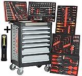 Chariot d'atelier Ultra Edition | 7 tiroirs - 5 remplis d'outils à main | Lampe de travail verrouillable + batterie COB