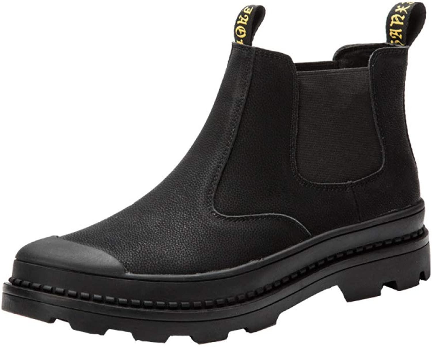XINGF Men's Black Round Martin Boots, Leather, England, Chelsea Boots, Fashion, High Help, Comfortable Men's shoes