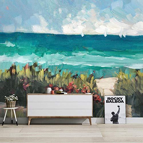Papel Pintado De Paisaje Marino Abstracto Pintado A Mano Nórdico Arte Graffiti Hotel Sala De Estar Fondo Pared Mural Personalizado Revestimiento De Paredes