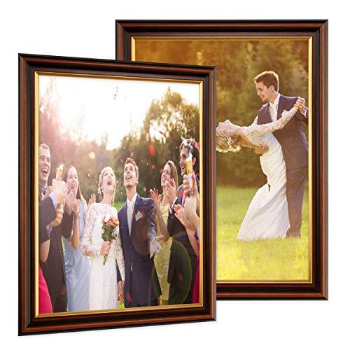 PHOTOLINI 2er Set Bilderrahmen 30x45 cm Antik Dunkelbraun mit Goldkante Massivholz mit Glasscheibe inkl. Zubehör