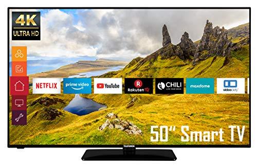 Telefunken D50U551N1CW 50 Zoll Fernseher (4K Ultra HD, HDR, Triple Tuner, Smart TV, Works with Alexa, HD+)