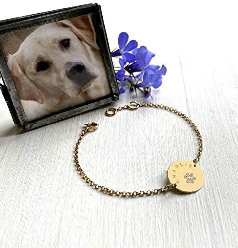 Pulsera de Disco de Oro Personalizada con Estampado de Pata de Perro