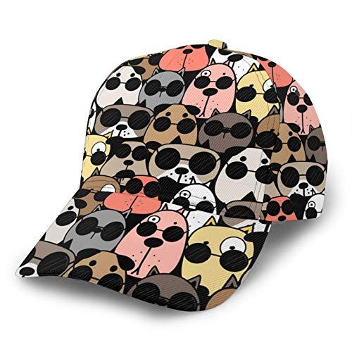 GCDT Cool Dogs con gafas 3D curvado gorra de béisbol de sarga curvada ajustable Snapback Cap clásico Sport Casual Dad Hat para hombres y mujeres negro