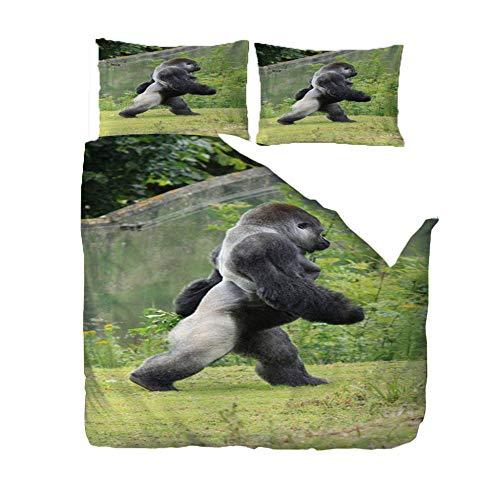 Funda Nordica Cama 220 x 260cm Orangután Negro Funda Nórdica y Funda de Almohada, Microfibra, Impresión Digital 3D, Juego de Cama de Tres Piezas,Hipoalérgico