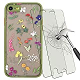 Tonvizern for iPhone SE 2020/7/8 Case Flower Floral, Cute Flowers Pattern Hard PC Back and Soft TPU Bumper Girls Women Protective Silicone Slim Case with Tempered Glass Screen Protector (.Green)
