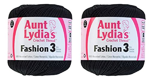 Aunt Lydia's Crochet Thread - Size 3 - (2-Pack) Black