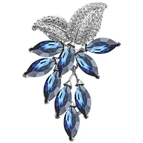 Broche grande de flor de cristal broche de uva y broches joyería de boda Bijouterie ramillete vestido abrigo accesorios