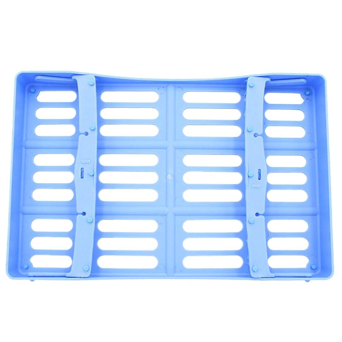 お手入れ麺スラッシュHEALLILY 歯科用手術器具用プラスチック製消毒トレイ10個用ツール収納(ブルー)