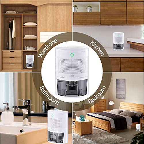 Ultra-quiet Mini Dehumidifier, BIOXO Portable Dehumidifier for 1300 cubic feet (172 sq ft) of a Small Space, Safe Dehumidifiers for Basements, Bathrooms, Wardrobes, Bookcases, Filing Cabinets, etc.