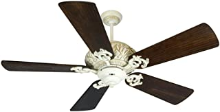 Craftmade K10726 Downrod Mount, 5 White Blades Ceiling fan, Antique White Distressed