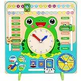 bozmi Calendario Educativo Reloj de enseñanza Rompecabezas Tablero de Madera Juguetes Montessori para niños