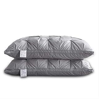chenjia Núcleo de almohada 100% de plumón de ganso blanco, núcleo de almohada contra ácaros y alergias, 2 piezas de 48 × 74 cm núcleo de almohada comúnmente utilizado en familias (gris)