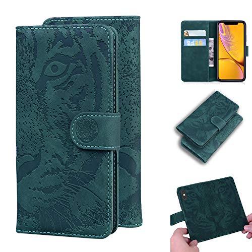 TTUDR iPhone XR Premium Leder Flip Schutzhülle [Standfunktion] [Kartenfächer] [Magnetverschluss] lederhülle klapphülle für Apple iPhone XR - TTTX020060 Grün