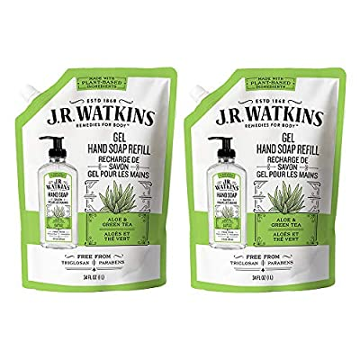 JR Watkins Liquid Hand Soap Refill Pouch, Aloe and Green Tea, 2 Pack, Scented Liquid Hand Wash for Bathroom or Kitchen, USA Made and Cruelty Free, 34 fl oz