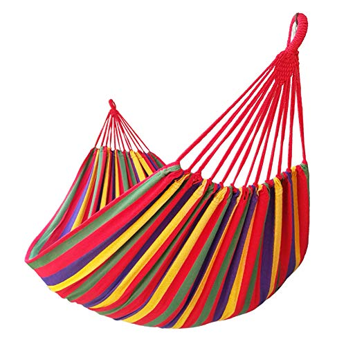 of garden patio hammocks dec 2021 theres one clear winner GOCAN Brazilian Double Hammock 2 Person Extra Large Canvas 250x160cm Total Length 350cm Load 500lb Cotton Hammock for Garden Outdoor and Indoor