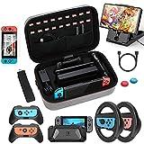 HEYSTOP Kit de Accesorios 12 en 1 Compatible con Nintendo Switch, con Funda de Transporte, TPU Cubierta Protectora, Grip y Volante, Soporte,Protector de Pantalla, Apretones de Pulgar, Cable USB,Gris