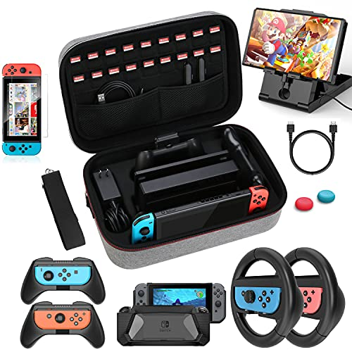 HEYSTOP Case & Accessories Kit for Nintendo Switch, 12 in 1 Switch Carry Case, PlayStand, Joycon Steering Wheel, Joycon Grip, Screen Protector, Thumb Grips, Case Cover, Charger Cable