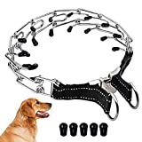 Wellbro Pit Bull German Shepherd Training Metal Gear Prong Pets Collar, with Quick Release Snap Buckle and Rubber Tips, Easy-On Plated Adjustable Training Dog Collar, 24' (Type 1)