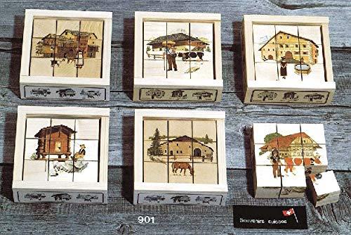 Atelier Fischer 901 - Puzzle (9 Piezas), diseño de Casas suizas, Multicolor