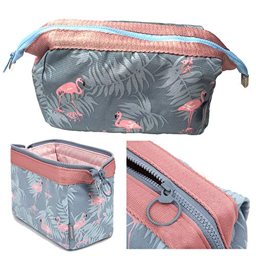 Makeup Bag Flamingo Brush Organizer, Cosmetic Pouch with Zipper Large Capacity Waterproof Cosmetic Case for Women's 1Pack (Light blue)