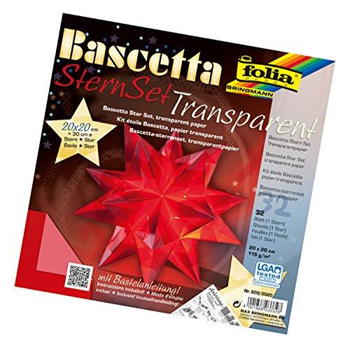 folia 820/2020 - Bastelset Bascetta Stern, Transparent rot, 20 x 20 cm, 32 Blatt, fertige Größe des Papiersterns ca. 30 cm, mit ausführlicher Anleitung - ideal zur zeitlosen Dekoration