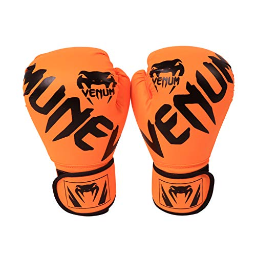 XIAMUSUMMER Guantoni da Boxe, Boxing, MMA, Muay Thai, Kickboxing, Training, Punching, Sparring Gloves, Guanti Boxe Donna, Arancia