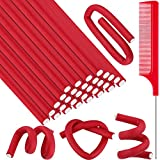 30 Pieces Flexible Curling Rods Twist Foam Hair Rollers Soft Foam No Heat Hair Rods Rollers and Steel Pintail Comb Rat Tail Comb for Women Girls Long and Short Hair (Red,9.45 x 0.3 Inch)