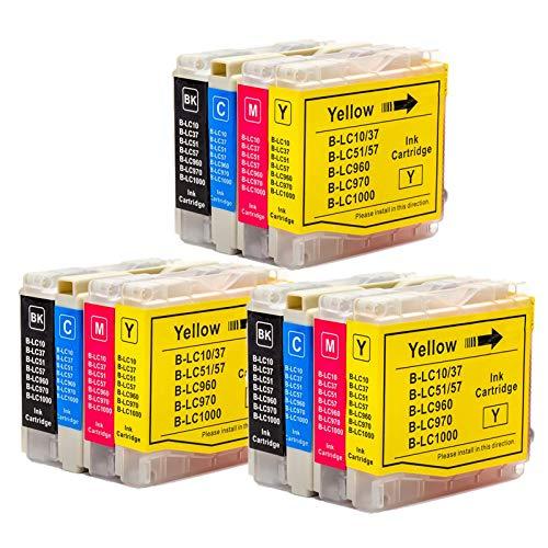 Karl Aiken LC970 LC1000 - Cartuchos de tinta compatibles con Brother LC970 LC1000 para Brother DCP-153C DCP-130C DCP-330C DCP-135C DCP-750CW DCP-330C DCP-770CW MFC-260C (12 unidades)