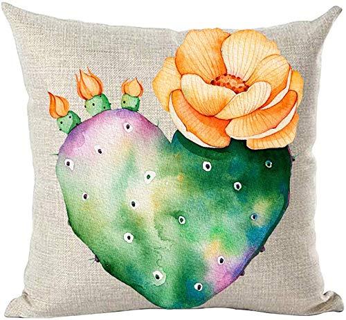 Mesllings - Funda de cojín pintada a mano con tinta al óleo, acuarela morada verde cactus naranja flor amor decorativo funda de almohada cojín hogar sala de estar cama sofá coche algodón lino cuadrado 18 x 18 pulgadas