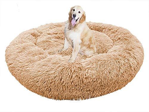Donut Hundebett, Premium Orthopädisches Haustierbett für Große und Extra Große Hunde, XL Weiches Plüsch Haustierbett, Gemütlichem, Rundes Hundesofa mit Wasserfeste Unterseite, Hundekörbchen Waschbar