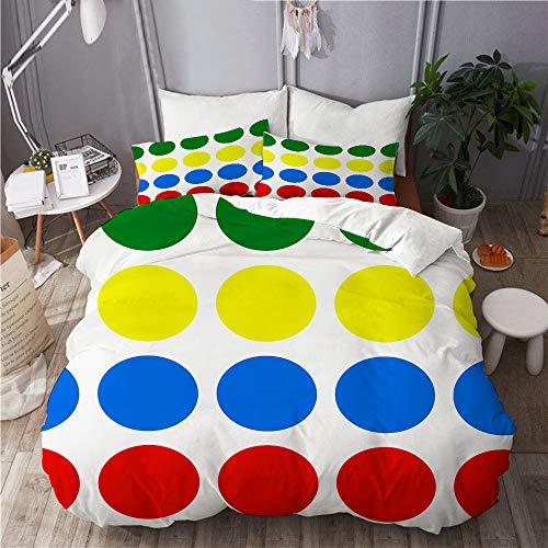 YOLIKA Bettwäsche-Set,Twister,Mikrofaser Bettbezüge Set mit Reißverschluss,und Kopfkissenbezüge,220x240