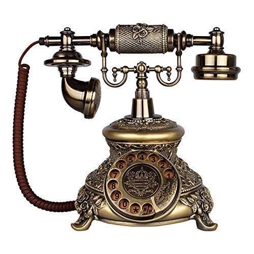 LDDZB Teléfono retro vintage teléfono Dial teléfono europeo clásico vintage hogar resina con cable teléfono fijo campana de metal decoración del hogar oficina artesanía