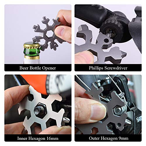 18-in-1 Snowflake Multi-Tool, Stainless Steel Snowflake Wrench, Portable Snowflake Tool Card Bottle Opener Snowflake Screwdriver for Christmas Gift,Silver