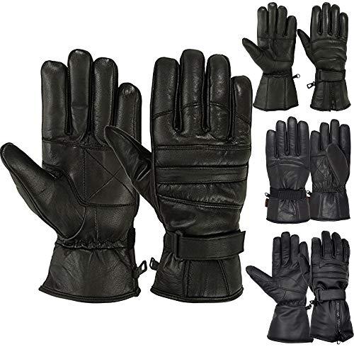 Mens Warm Winter Dress Glove Genuine Leather Motorcycle Gloves, Black (2XL)