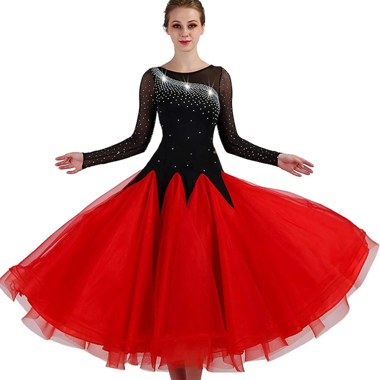 Wanmei Women Modern Waltz Tango Competition Dance Dresses Tulle Rhinestone Backless Ballroom Dance Dresses Performance Suit