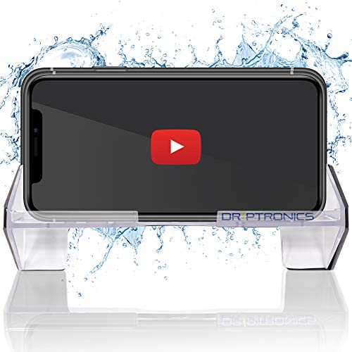 Driptronics - Shower/Mirror Phone Holder/Mount/Shelf Compatible with Any Waterproof Phone, Reusable Non-Residue Micro-Suction Tape, Bathroom Use, Make-up, Music, Videos, Shaving, (Clear)