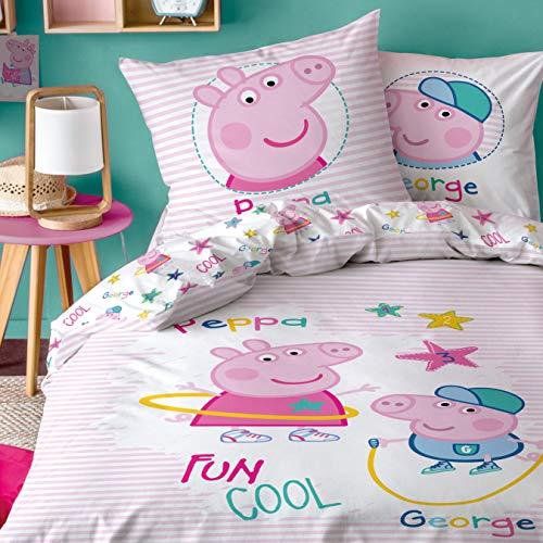 Peppa Wutz CTI Ropa de cama reversible de Peppa Pig · Ropa de cama infantil para niñas · Rosa, Blanco · Peppa & George · Funda de almohada 80 x 80 + Funda nórdica 135 x 200 cm