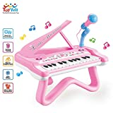 ToyVelt Toy Piano for Toddler Girls – Cute Piano for Kids with Built-in Microphone & Music Modes -...