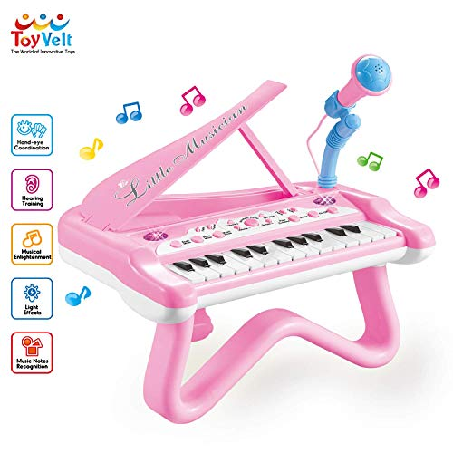 ToyVelt Toy Piano for Toddler Girls – Cute Piano for Kids with Built-in Microphone & Music Modes - Best Birthday Gifts for 2 3 4 5 Year Old Girls – Educational Keyboard Musical Instrument Toys