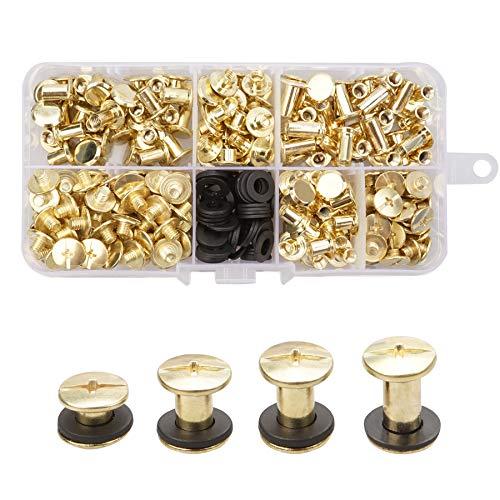 Juego de 120 tornillos Chicago de latón, 4 tamaños de tornillos, remache de metal, cabeza cruzada, kit de tornillos Chicago para manualidades, cinturón de cuero, decoración de cartera, encuadernación