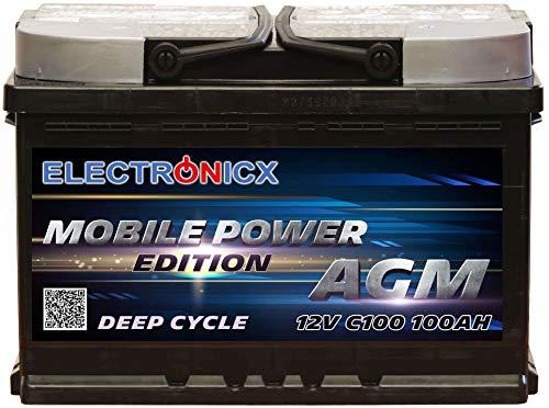 Electronicx Bateria Solar Coche AGM 100Ah 12V Bateria de Arranque de Gel MOBILE EDITION Caravana Autocaravana Camper Barco ideal para Interiores Car Battery Ciclo Profundo Resistente a las Vibraciones