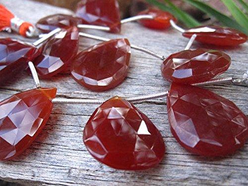 World Wide Gems Cuentas de piedras preciosas Tomate Chalceny Cuentas de lágrimas facetadas grandes briolettes 24 mm x 18 mm código-HIGH-69096
