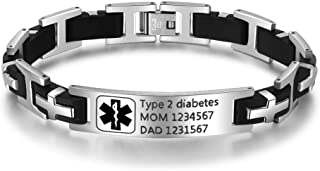 inscription en anglais /«/Type 1/diabetic insulin dependent//» Lot de 4 bracelets d/'alerte m/édicale en silicone