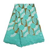 African Lace Fabric Swiss Voile Lace Dry Fabric Embroidered Fabric for Wedding Party ZS753 (Aqua)