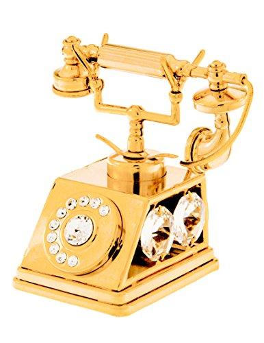 Figura decorativa de teléfono bañados en oro de 24K con cristales de Swarovski