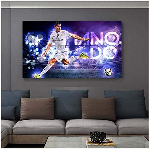 Futbolista Cristiano Ronaldo Pintura mural Pintura sobre lienzo Póster e impresiones Decorativo para el hogar-50x80cm Sin marco